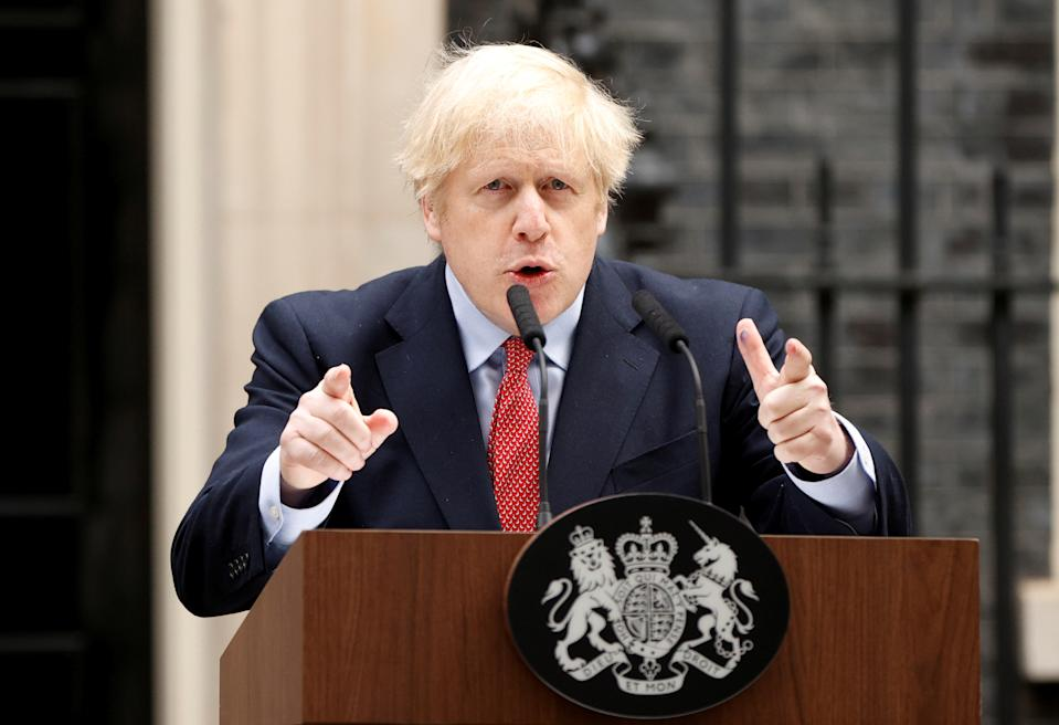 Britain's Prime Minister Boris Johnson speaks outside 10 Downing Street after recovering from the coronavirus disease (COVID-19), London, Britain, April 27, 2020. REUTERS/John Sibley     TPX IMAGES OF THE DAY