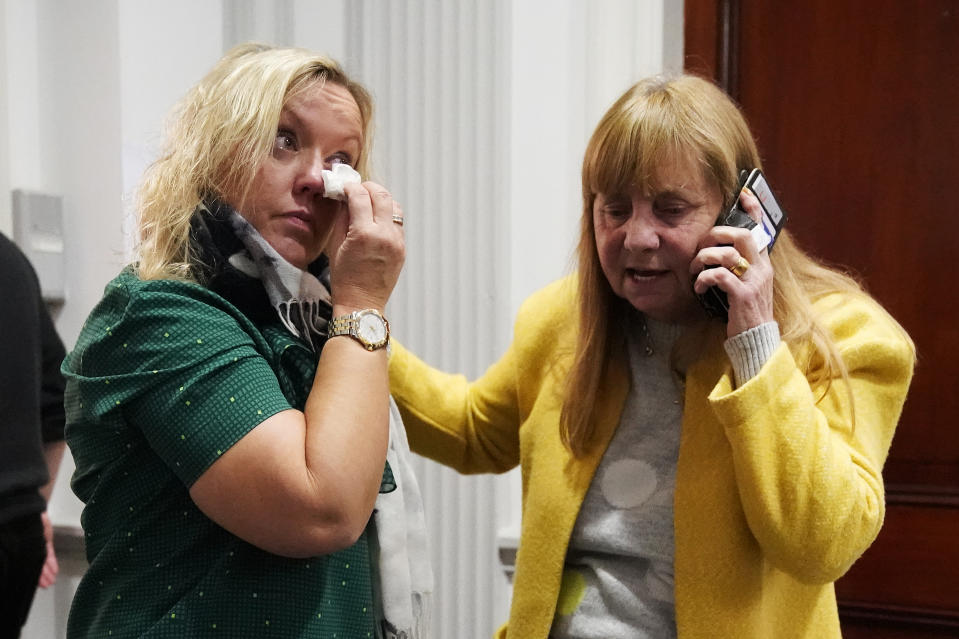 LIVERPOOL, ENGLAND - NOVEMBER 28: Margaret Aspinall (R), whose 18-year-old son James was killed in the disaster, comforts a relative after former South Yorkshire police chief superintendent David Duckenfield was found not guilty of manslaughter at Preston Crown Court, in the Cunard Building on November 28, 2019 in Liverpool, England. The former South Yorkshire Police chief superintendent was on trial for the manslaughter of 95 of the 96 Liverpool fans who died as a result of a fatal crush during an FA Cup football match between Liverpool and Nottingham Forest that was played in Sheffield Wednesday's Hillsborough ground on 15 April 1986. A trial on the same charges earlier this year ended with the jury unable to come to a verdict.  The 96th death of Tony Bland could not be charged as he died more than a year and a day after the act that caused his death which was the law at the time. The families of the victims watched the court proceedings in Preston and at a live broadcast in the Cunard Building. (Photo by Christopher Furlong/Getty Images)
