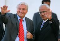 This file photo taken on September 8, 2006, shows then German Foreign Minister Frank-Walter Steinmeier and Palestinian chief negotiator Saeb Erekat in the West Bank city of Ramallah