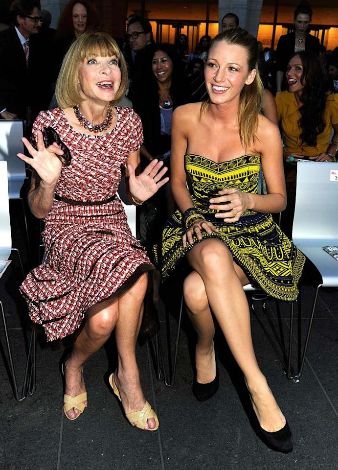 "At Fashion Week's kickoff event, Fashion's Night Out: The Show on Tuesday night, the usually emotionless <i>Vogue</i> editor-in-chief Anna Wintour was the most animated we've ever seen her while sharing a front row seat with her magazine's June cover girl, Blake Lively. Larry Busacca/<a href=""http://www.gettyimages.com/"" target=""new"">GettyImages.com</a> - September 7, 2010"