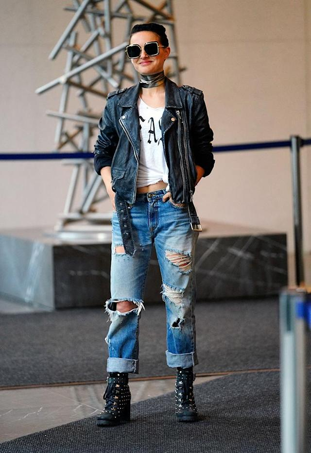 <p>Who's that girl?! The actress showed off a very different rocker-chic look on the set of her new flick <em>Vox Lux</em> Wednesday in New York. (Photo: Gotham/GC Images) </p>