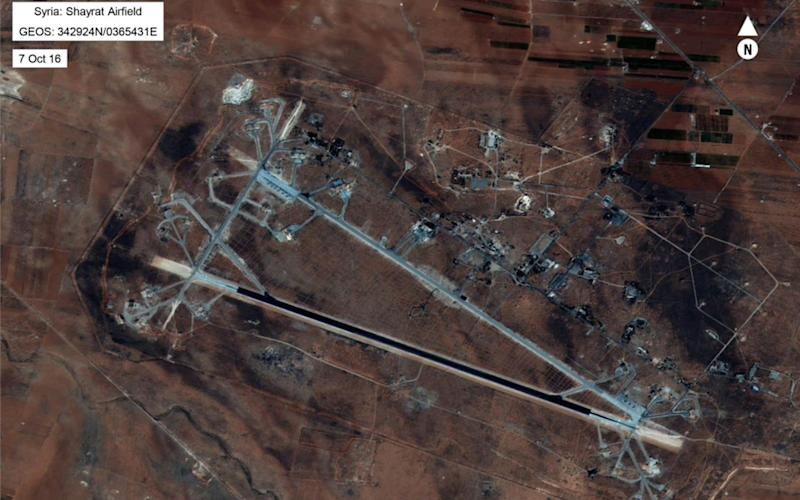 An aerial view of the al-Shayrat Airfield near Homs that was targeted in the strikes - Credit: US DEPARTMENT OF DEFENSE
