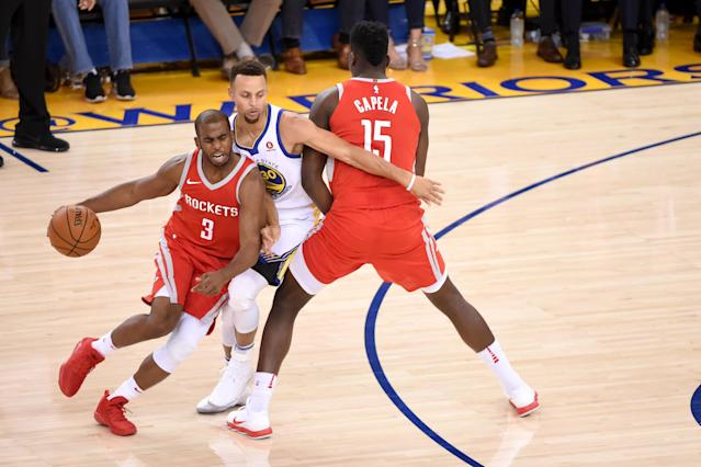 In his first conference finals appearance, expect Chris Paul to try to put Stephen Curry through the wringer. (Getty)