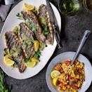<p>Black sea bass is plentiful in the Atlantic near Stonington, Connecticut, home of Stone Acres Farm, source of the summer vegetables that inspired this recipe. Paired with a charred tomato-and-corn salad and served with a lip-smacking beurre blanc, the dish screams summer. The key to the sauce not breaking is to slowly melt the butter into it-if it happens too quickly, move the pan off the heat while you whisk, returning it to low heat as needed.</p>