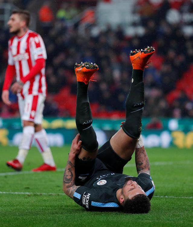 "Soccer Football - Premier League - Stoke City vs Manchester City - bet365 Stadium, Stoke-on-Trent, Britain - March 12, 2018 Manchester City's Kyle Walker reacts after a missed chance Action Images via Reuters/Andrew Couldridge EDITORIAL USE ONLY. No use with unauthorized audio, video, data, fixture lists, club/league logos or ""live"" services. Online in-match use limited to 75 images, no video emulation. No use in betting, games or single club/league/player publications. Please contact your account representative for further details."