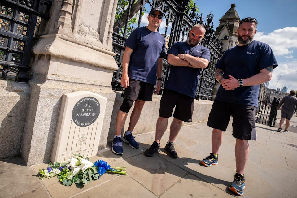 PC Darren Sanders, PC Mick Gibson and Sgt Darren Laurie visit where colleague PC Keith Palmer died (Jason Bye/MartisMedia)