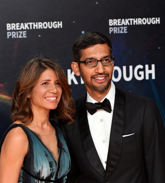 In this file photo taken on November 03, 2019 Google CEO Sundar Pichai and his wife Anjali Pichai arrive for the 8th annual Breakthrough Prize awards ceremony at NASA Ames Research Center in Mountain View, California (AFP Photo/JOSH EDELSON)