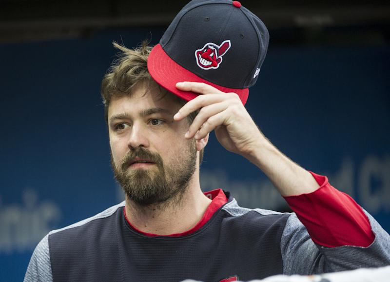 Cleveland Indians relief pitcher Andrew Miller is shown before a baseball game against the Chicago White Sox in Cleveland, Friday, June 9, 2017.