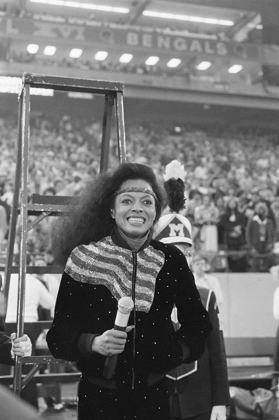 Diana Ross sings the National Anthem at Super Bowl XVI in Detroit's Silverdome Stadium in 1982.