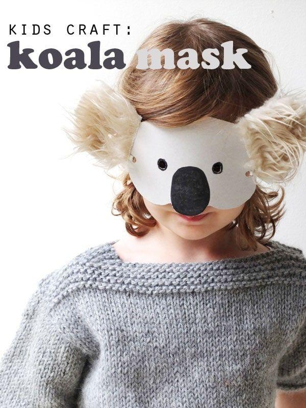 """<p>Complete with fluffy ears, this easy cardboard koala mask couldn't be cuter. </p><p><strong><em>Get the tutorial at <a href=""""https://mypoppet.com.au/makes/kids-craft-koala-mask-with-template/"""" rel=""""nofollow noopener"""" target=""""_blank"""" data-ylk=""""slk:My Poppet"""" class=""""link rapid-noclick-resp"""">My Poppet</a>. </em></strong></p>"""