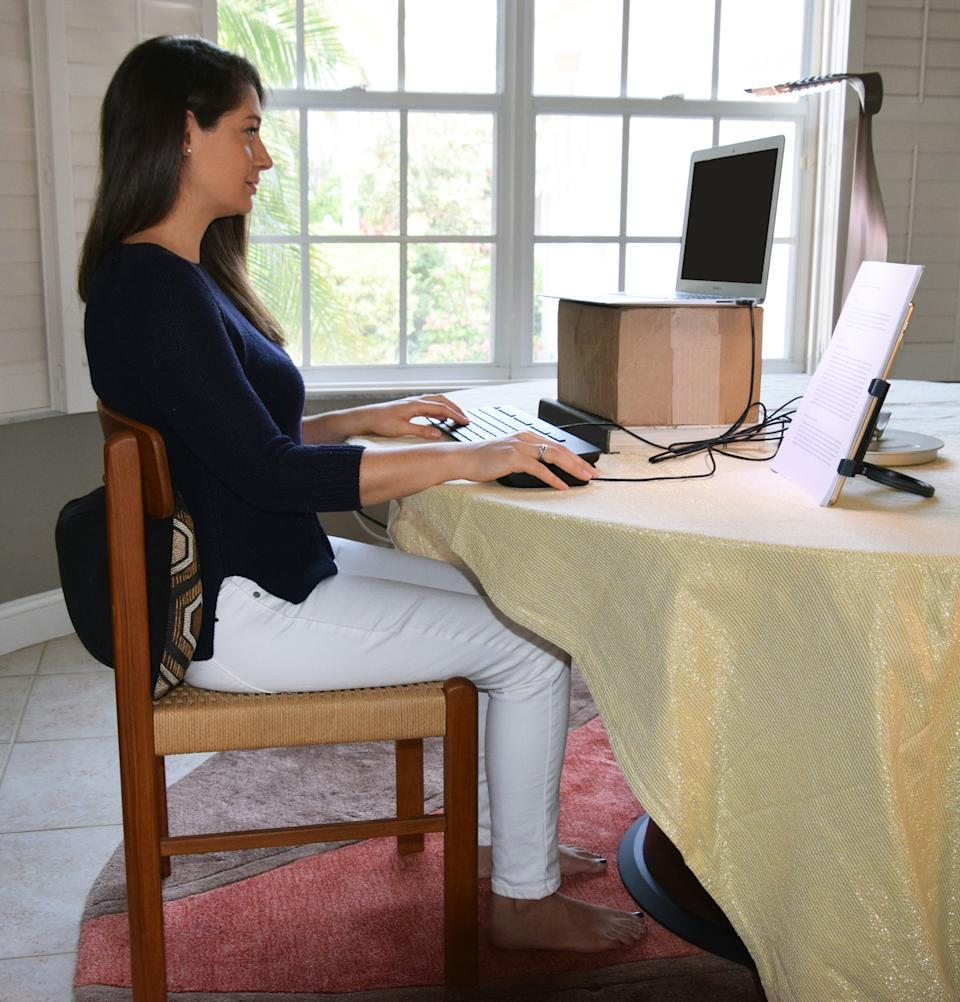The author's daughter-in-law demonstrates optimal ergonomic posture.   Courtesy of Alan Hedge