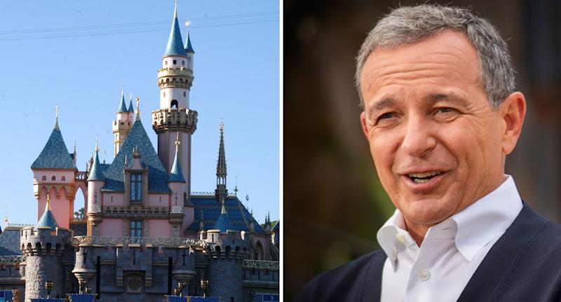 Photo of the famous Disneyland castle and Disney CEO Bob Iger.