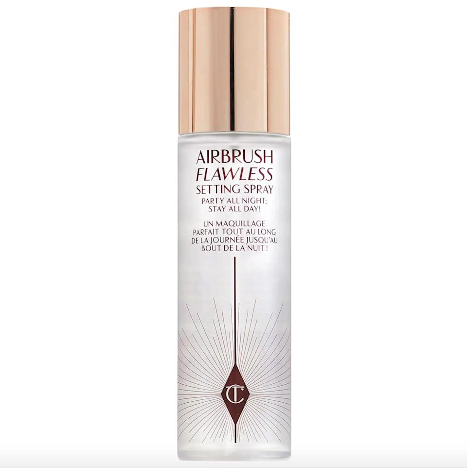 """<p>The <span>Charlotte Tilbury Airbrush Flawless Setting Spray</span> ($35) is so good, it even has drag queen <a href=""""https://www.popsugar.com/beauty/alyssa-edwards-beauty-interview-48377871"""" class=""""link rapid-noclick-resp"""" rel=""""nofollow noopener"""" target=""""_blank"""" data-ylk=""""slk:Alyssa Edwards's stamp of approval"""">Alyssa Edwards's stamp of approval</a>. It uses Japanese green tea to keep skin hydrated and provides protection for up to 16 hours.</p>"""