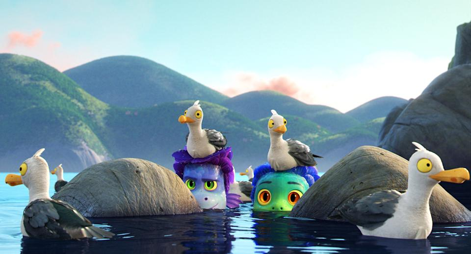"""Alberto (voiced by Jack Dylan Grazer) and Luca (Jacob Tremblay) try to keep their sea-monster selves hidden in """"Luca."""""""