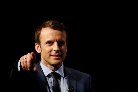 Emmanuel Macron head of the political movement En Marche! attends a political rally in Angers