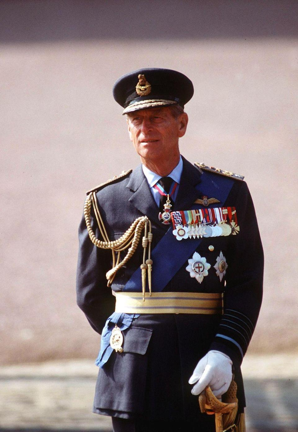 <p>Prince Philip in full ceremonial uniform at a Battle Of Britain fly-past in the early 90s.</p>