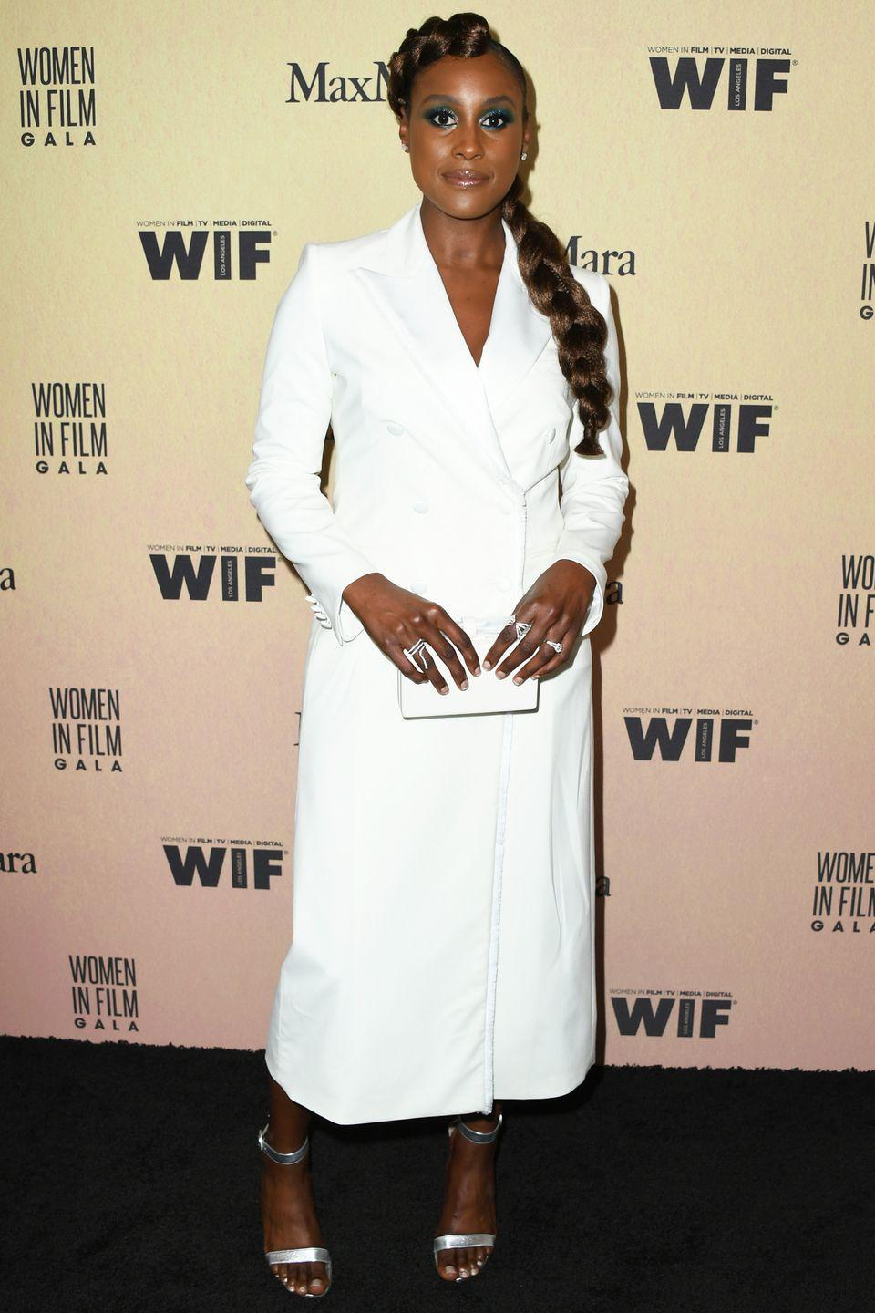 """<p>Who: Issa Rae</p><p>When: June 12, 2019</p><p>Wearing: Max Mara </p><p>Why: """"As women [...] we're kinda conditioned, socially, to be humble,"""" Issa Rae said during her acceptance <a href=""""https://www.instagram.com/p/Byq-OsvAMjf/"""" rel=""""nofollow noopener"""" target=""""_blank"""" data-ylk=""""slk:speech"""" class=""""link rapid-noclick-resp"""">speech</a> for the Emerging <em>Entrepreneur</em> Award at the Women in Film Gala in Beverly Hills, California. She continued with a message praising female confidence, which was just as powerful as her power suit dress. </p>"""
