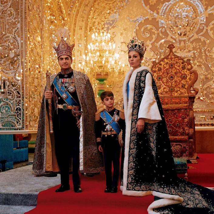 Mohammad Reza Pahlavi, the last Shah of Iran, with his third wife Farah and their son Reza in circa 1975 - Universal Images Group