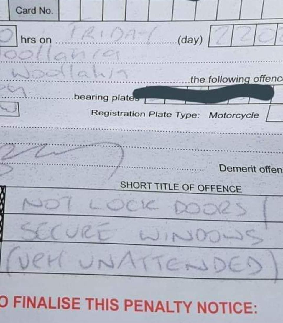 Mr Judd copped a $112 fine for failing to lock his car while ducking in for a quick meat pie. Source: Facebook/Ben Judd