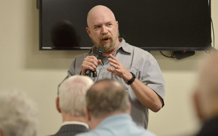 Terre Haute Police Det. Greg Ferency gives a presentation during the protecting places of worship forum on April 12, 2019, at St. George's Orthodox Church in Terre Haute, Ind. Ferency, a 30-year department veteran who had been a federal task force officer since 2010, was killed in an ambush shooting outside an FBI office in western Indiana, an FBI official said Thursday, July 8, 2021. (Joseph C. Garza/The Tribune-Star via AP)