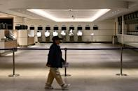 A betting station is closed on Gold Cup day at Hong Kong's Sha Tin racecourse -- the city has seen 56 cases of new coronavirus, including one death
