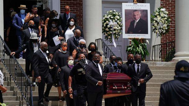PHOTO: The casket holding the body of civil rights icon C.T. Vivian is carried out of Providence Missionary Baptist Church following his funeral service on July 23, 2020 in Atlanta, Georgia. (Elijah Nouvelage/Getty Images)