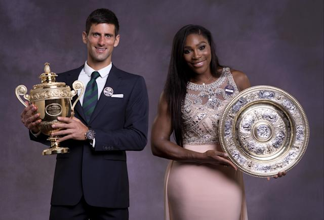 LONDON, ENGLAND - JULY 12: (EDITORIAL USE ONLY - NO COMMERCIAL USEAGE) (IMAGE IS A DIGITAL COMPOSITE OF TWO PHOTOGRAPHS) Serena Williams of the United States and Novak Djokovic of Serbia pose at the Champions Dinner at the Guild Hall on day thirteen of the Wimbledon Lawn Tennis Championships at the All England Lawn Tennis and Croquet Club on July 12, 2015 in London, England. (Photo by Thomas Lovelock - AELTC Pool/Getty Images)
