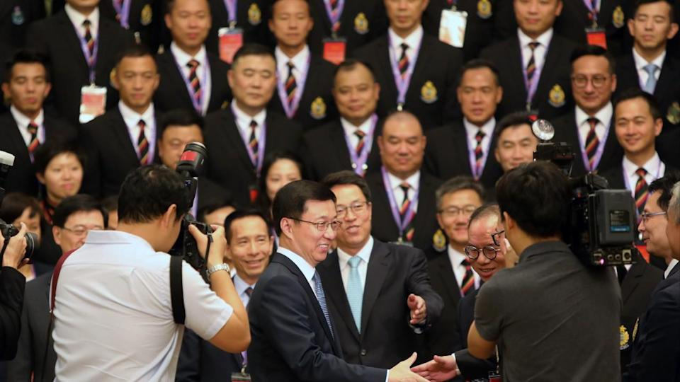 Chinese Vice-Premier Han Zheng urges Hong Kong officers to 'firmly' safeguard national security and rule of law
