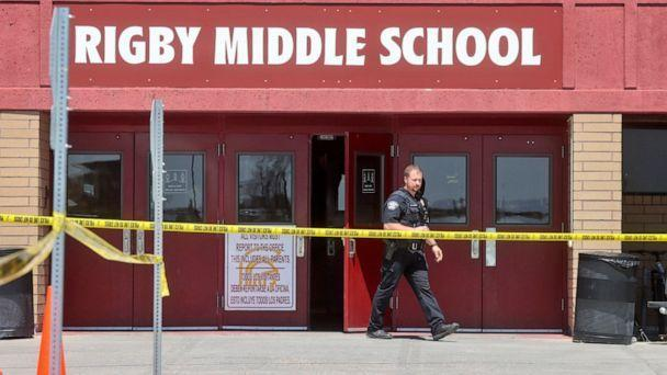 PHOTO: A police officer walks out of Rigby Middle School following a shooting there earlier Thursday, May 6, 2021, in Rigby, Idaho. (Natalie Behring/AP)