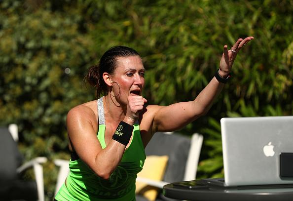 Julia Basa leads an online ZUMBA Fitness session from her backyard in Melbourne.