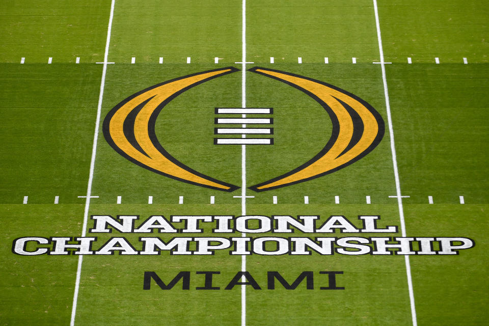 MIAMI GARDENS, FLORIDA - JANUARY 11: A general view of the CPF National Championship midfield logo before the College Football Playoff National Championship football game between the Alabama Crimson Tide and the Ohio State Buckeyes at Hard Rock Stadium on January 11, 2021 in Miami Gardens, Florida. (Photo by Alika Jenner/Getty Images)