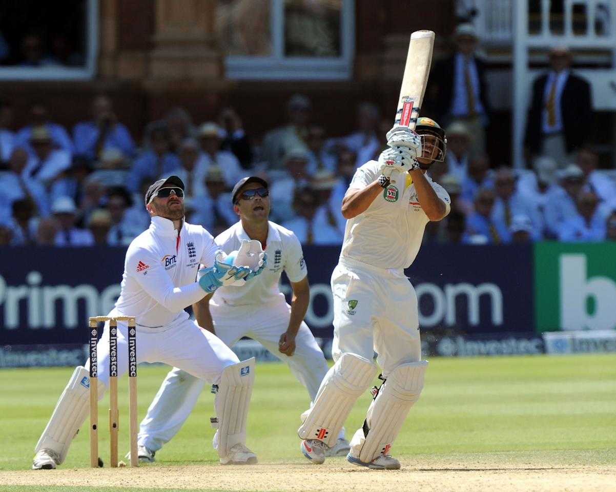Australia's Usman Khawaja looks-on as he is caught by England's Kevin Pietersen (not pictured) on day two of the Second Investec Ashes Test at Lord's Cricket Ground, London.