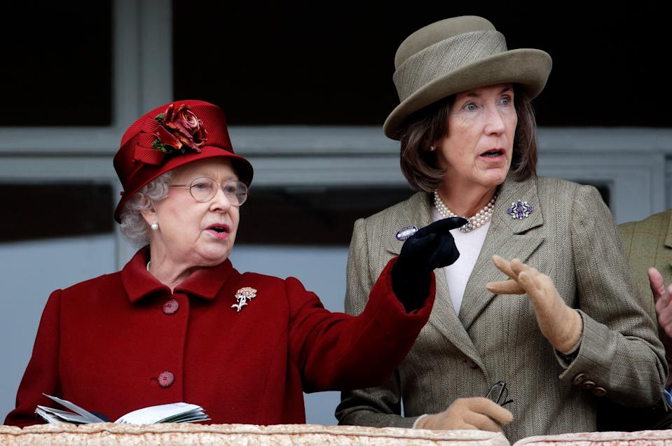 CHELTENHAM, UNITED KINGDOM - MARCH 13: (EMBARGOED FOR PUBLICATION IN UK NEWSPAPERS UNTIL 24 HOURS AFTER CREATE DATE AND TIME) Queen Elizabeth II and Lady Celia Vestey attend day 4 'Gold Cup Day' of the Cheltenham Festival at Cheltenham Racecourse on March 13, 2009 in Cheltenham, England. (Photo by Max Mumby/Indigo/Getty Images)