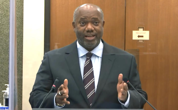 In this image from video, prosecutor Jerry Blackwell speaks as Hennepin County Judge Peter Cahill discusses motions before the court Thursday, April 15, 2021, in the trial of former Minneapolis police Officer Derek Chauvin at the Hennepin County Courthouse in Minneapolis. Chauvin is charged in the May 25, 2020 death of George Floyd. (Court TV via AP, Pool)