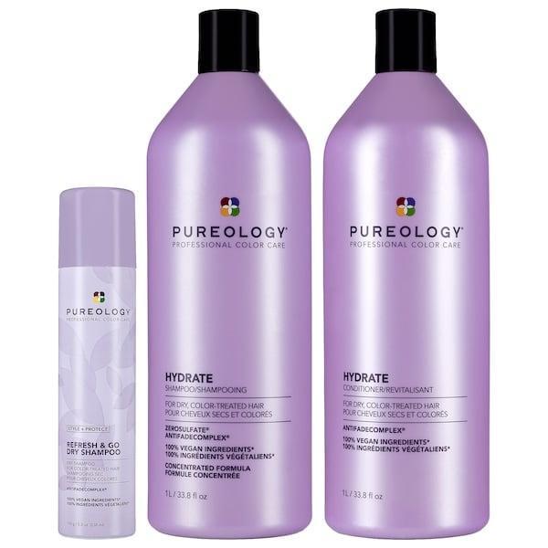 """<p>Anyone who's already a fan of <a href=""""https://www.popsugar.com/beauty/photo-gallery/47721767/image/47721770/Pureology-Hydrate-Sheer-Conditioner"""" class=""""link rapid-noclick-resp"""" rel=""""nofollow noopener"""" target=""""_blank"""" data-ylk=""""slk:this line's shampoo and conditioner"""">this line's shampoo and conditioner</a> will definitely appreciate the new <span>Pureology Hydrate Jumbos Kit</span> ($129), to save on goodies for dry, color-treated hair.</p>"""
