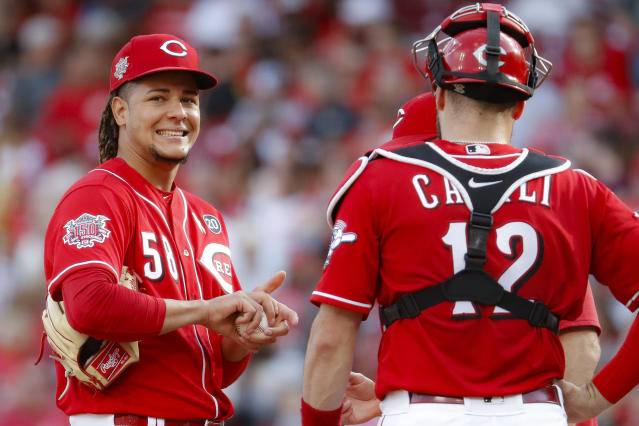 Cincinnati Reds starting pitcher Luis Castillo (58) reacts as he is being relieved in the eighth inning of a baseball game against the Arizona Diamondbacks, Saturday, Sept. 7, 2019, in Cincinnati. (AP Photo/John Minchillo)
