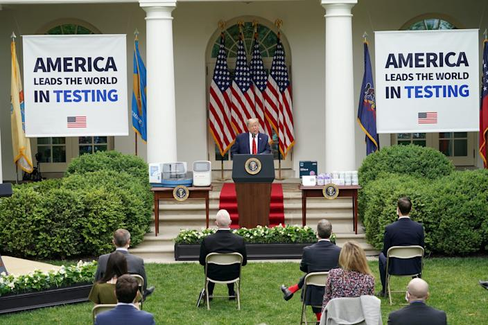 President Donald Trump at a coronavirus press conference in the White House's Rose Garden on May 11, 2020.