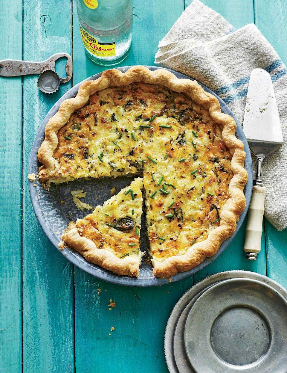 """<p><strong>Recipe:</strong> <a href=""""https://www.southernliving.com/recipes/crab-pie-recipe"""" rel=""""nofollow noopener"""" target=""""_blank"""" data-ylk=""""slk:Crab Pie"""" class=""""link rapid-noclick-resp"""">Crab Pie</a></p> <p>Consider Crab Pie to be the richer, creamier cousin to your standard quiche. Your guests will be wowed and you'll be thankful that you only had to make one dish for breakfast!</p>"""