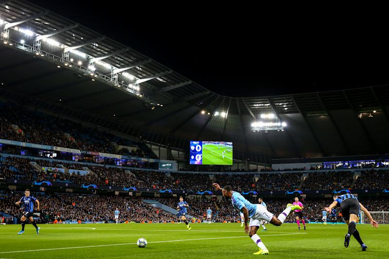 MANCHESTER, ENGLAND - OCTOBER 22: A general view of match action at Etihad Stadium, home stadium of Manchester City during the UEFA Champions League group C match between Manchester City and Atalanta at Etihad Stadium on October 22, 2019 in Manchester, United Kingdom. (Photo by Robbie Jay Barratt - AMA/Getty Images)