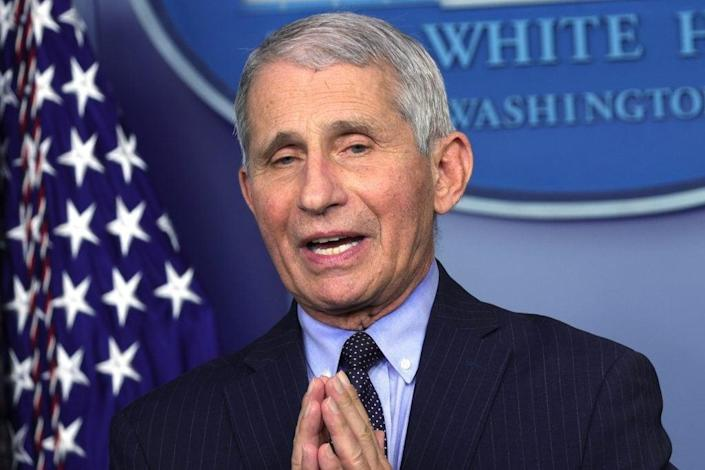 Dr. Anthony Fauci, director of the National Institute of Allergy and Infectious Diseases, speaks during a recent White House press briefing. (Photo by Alex Wong/Getty Images)