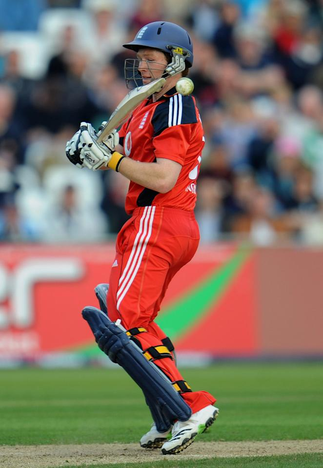 NOTTINGHAM, ENGLAND - SEPTEMBER 15: Eoin Morgan of England hits out during the 5th NatWest ODI match between England and Australia at Trent Bridge on September 15, 2009 in Nottingham, England.  (Photo by Laurence Griffiths/Getty Images)