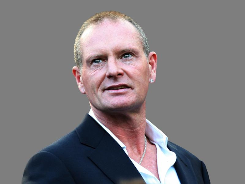 Paul Gascoigne headshot, former England soccer player, graphic element on gray