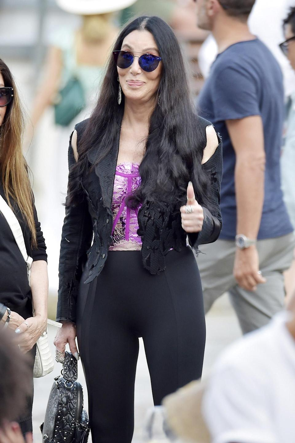 <p>Cher is seen out and about while on vacation in Portofino, Italy on July 18.</p>