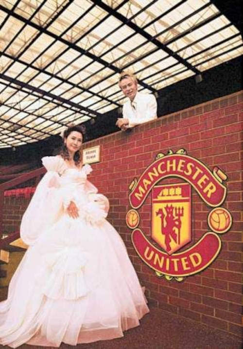 Hacken and his wife had their wedding photoshoot at the Old Trafford