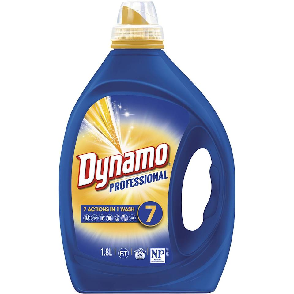 Dynamo topped the front-loader list with the $12 Dynamo Professional 7 Actions in 1 Wash. Photo: Woolworths