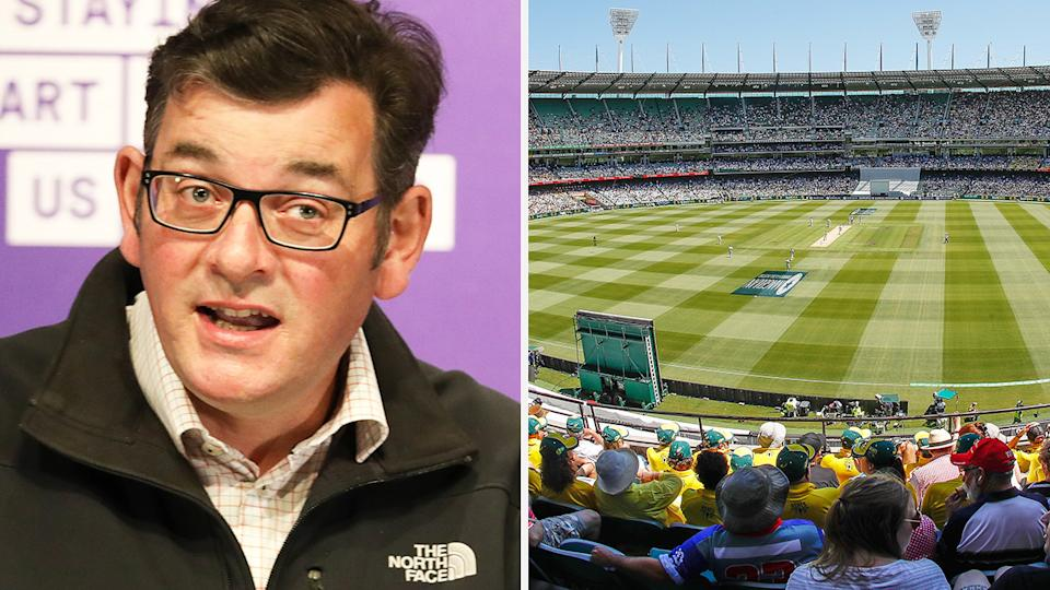 A 50-50 split image shows Victorian Premier Daniel Andrews on the left and a shot of the 2019 Boxing Day Test on the right.