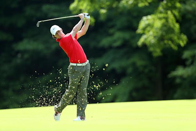 DUBLIN, OH - MAY 30: Rory McIlroy of Northern Ireland hits his second shot on the par 5 15th hole during the first round of the Memorial Tournament presented by Nationwide Insurance at Muirfield Village Golf Club on May 30, 2013 in Dublin, Ohio. (Photo by Andy Lyons/Getty Images)