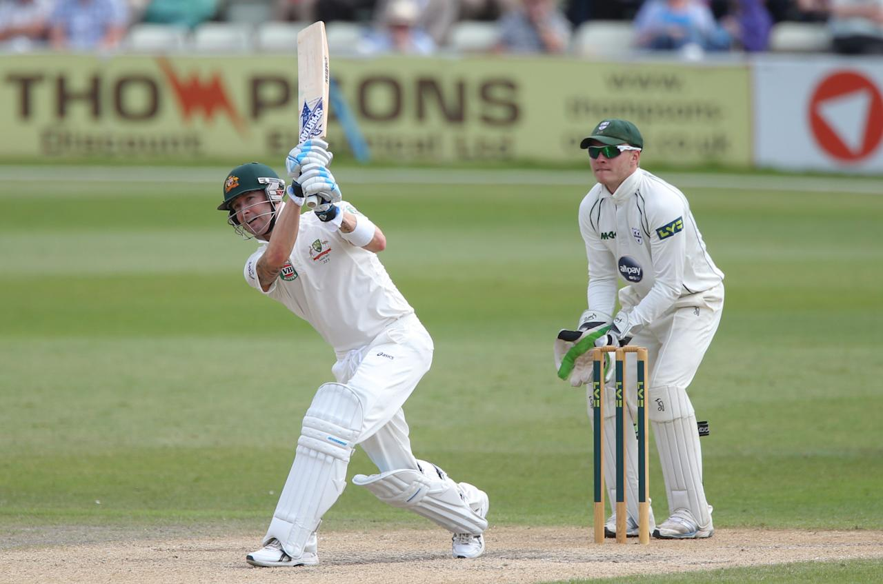 Australia captain Michael Clarke scores four runs watched by Worcestershire wicketkeeper Ben Cox, during day three of the International Warm up match at New Road against Worcestershire at Worcester. PRESS ASSOCIATION Photo. Picture date: Thursday July 4, 2013. See PA story CRICKET Australia. Photo credit should read: Nick Potts/PA Wire. RESTRICTIONS: Use subject to restrictions. Editorial use only. No commercial use. Call 44 (0)1158 447447 for further information.during day three of the International Tour match at New Road, Worcester. PRESS ASSOCIATION Photo. Picture date: Thursday July 4, 2013. See PA story CRICKET Australia. Photo credit should read: Nick Potts/PA Wire. RESTRICTIONS: Use subject to restrictions. Editorial use only. No commercial use. Call 44 (0)1158 447447 for further information.