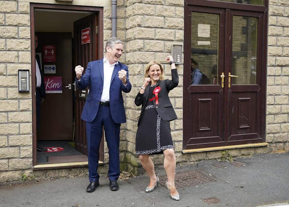 Sir Keir Starmer and Kim Leadbeater celebrate Labour's win in the Batley and Spen by-election (PA Wire)