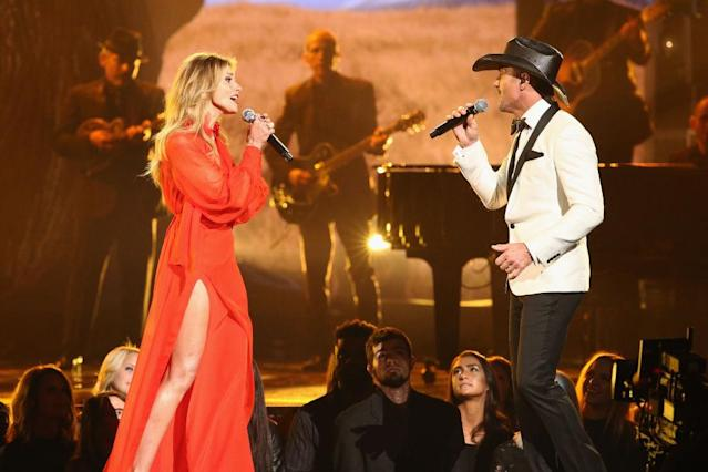 <p>Faith Hill and Tim McGraw perform onstage at the 51st annual CMA Awards at the Bridgestone Arena on November 8, 2017 in Nashville, Tennessee. (Photo by Terry Wyatt/FilmMagic) </p>